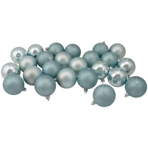 "60ct Blue Shatterproof 4-Finish Christmas Ball Ornaments 2.5"" (60mm) - IMAGE 1"