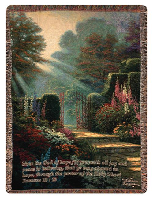 "Garden of Grace Inspirational Bible Verse Tapestry Throw Blanket 50"" x 60"" - IMAGE 1"