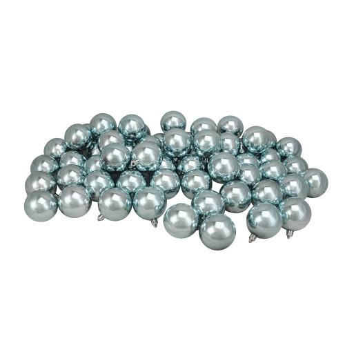 "60ct Mermaid Blue Shatterproof Shiny Christmas Ball Ornaments 2.5"" (60mm) - IMAGE 1"