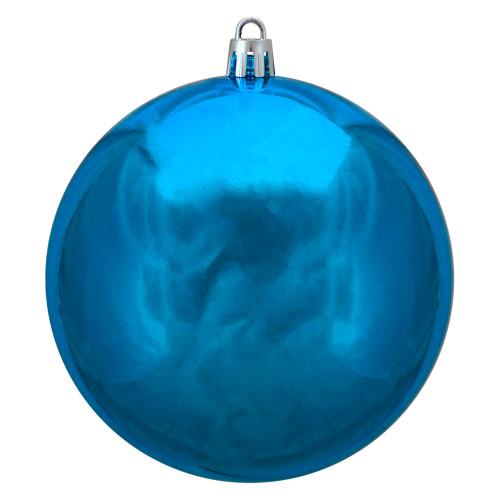 "Shiny Blue Shatterproof Christmas Ball Ornament 4"" (100mm) - IMAGE 1"