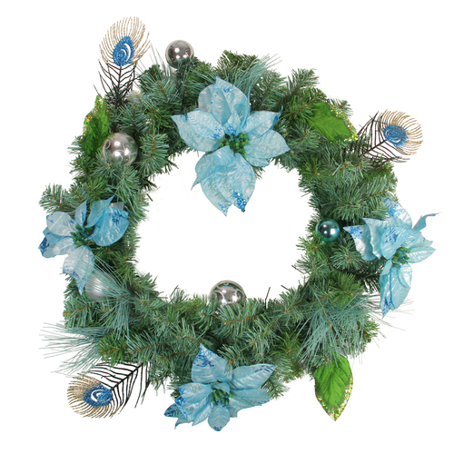 Peacock Poinsettia Artificial Christmas Wreath - 24-Inch, Unlit - IMAGE 1
