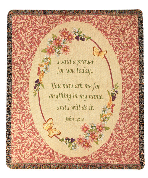 """Beige and Red Religious Inspirational Tapestry Throw Blanket 50"""" x 60"""" - IMAGE 1"""
