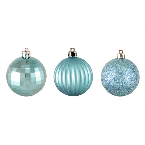 "100ct Blue Shatterproof 3-Finish Christmas Ball Ornaments 2.5"" (60mm) - IMAGE 1"