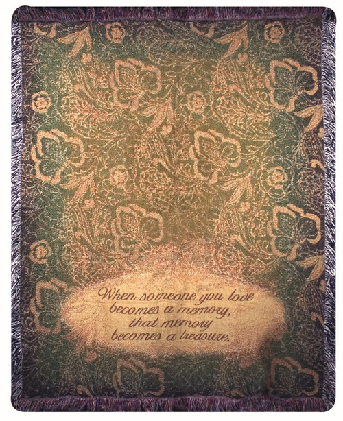"""Green and Cream White Floral Verse Tapestry Throw Blanket 50"""" x 60"""" - IMAGE 1"""