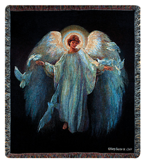 """Inspirational Messenger of Peace Angel Tapestry Throw Blanket 50"""" x 60"""" - IMAGE 1"""