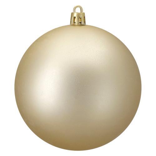 "Matte Champagne Gold Shatterproof Christmas Ball Ornament 4"" (100mm) - IMAGE 1"