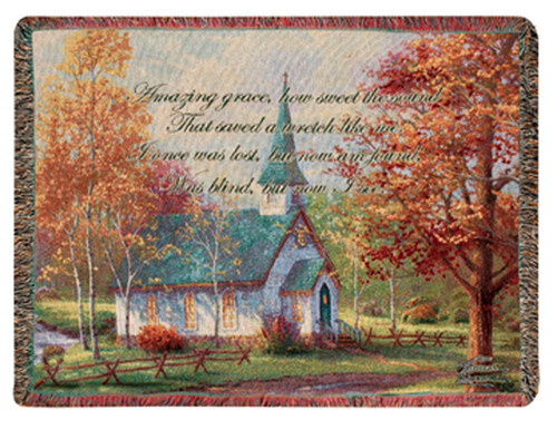 """Amber and Green Chapel in the Woods """"Amazing Grace"""" Tapestry Throw Blanket 60"""" x 50"""" - IMAGE 1"""