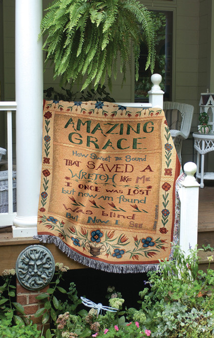 """Religious Inspirational """"Amazing Grace"""" Tapestry Throw Blanket 50"""" x 60"""" - IMAGE 1"""