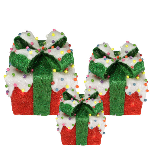 Set of 3 Lighted Snow and Candy Covered Sisal Gift Boxes Christmas Outdoor Decorations - IMAGE 1