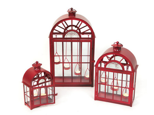 Set of 3 Eco Country Red Christmas Tea Light Candle Lanterns - IMAGE 1