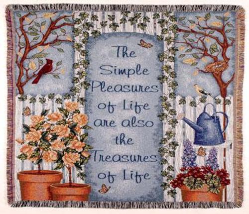 """Simple Pleasures Life's Treasures Tapestry Throw Blanket 50"""" x 60"""" - IMAGE 1"""