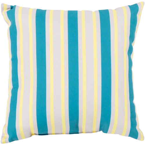"""26"""" Blue and Yellow Striped Contemporary Outdoor Square Throw Pillow - IMAGE 1"""