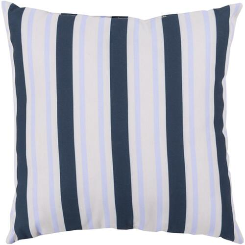 """20"""" Navy Blue and White Striped Contemporary Outdoor Square Throw Pillow - IMAGE 1"""