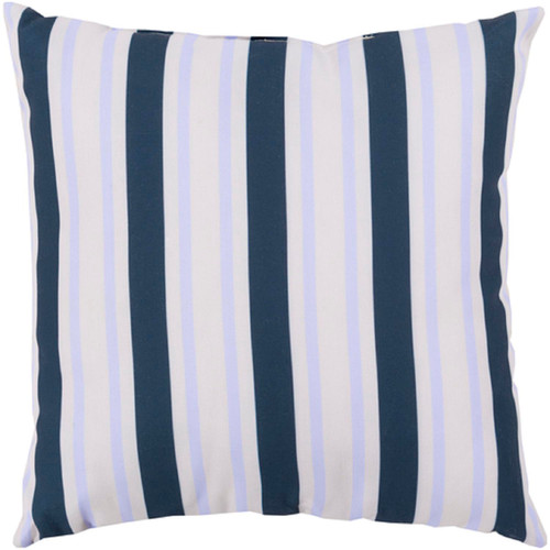 """18"""" Navy Blue and White Striped Contemporary Outdoor Square Throw Pillow - IMAGE 1"""