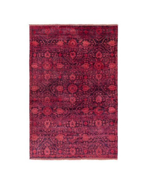 1' x 3' Apple Red and Purple Floral Oval Area Throw Rug - IMAGE 1