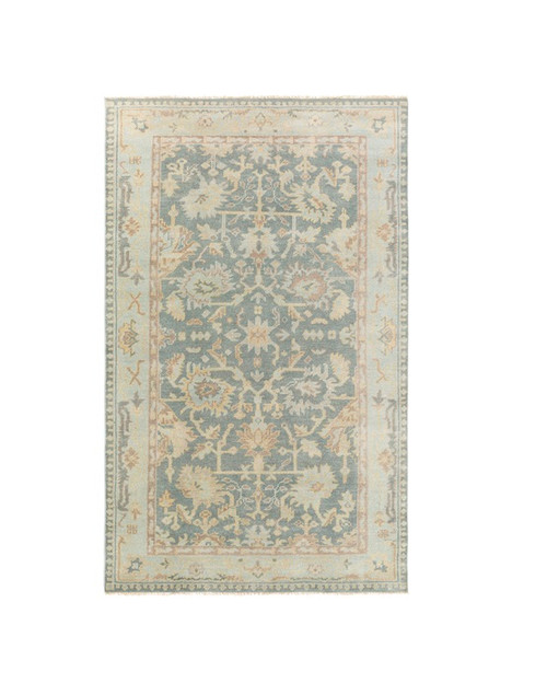 5.5' x 8.5' Traditional Gray and Brown Hand Knotted Wool Area Throw Rug - IMAGE 1