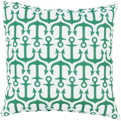 """26"""" Green and White Anchor Contemporary Outdoor Square Throw Pillow - IMAGE 1"""