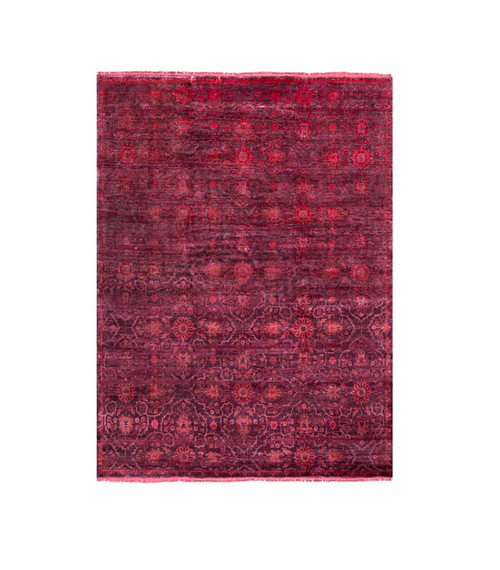 8' x 11' Apple Red and Purple Floral Rectangular Area Throw Rug - IMAGE 1