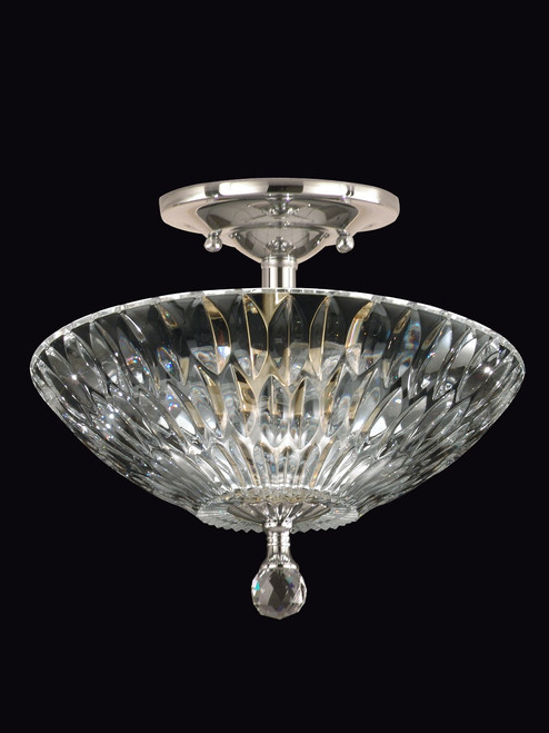 "13"" Satin Nickel and Solid Crystal Lightwater Semi-Flush Mount Ceiling Light Fixture - IMAGE 1"