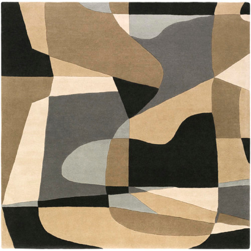 9.75' x 9.75' Arte Astratto Black and Beige Hand Tufted Square Wool Area Throw Rug - IMAGE 1