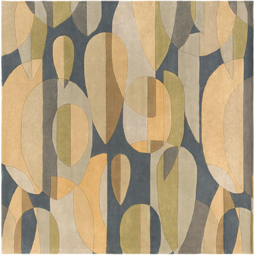6' x 6' Abstract Rain Teal Blue, Tan and Ash Gray Falling Leaves Square Hand Tufted Wool Area Throw Rug - IMAGE 1