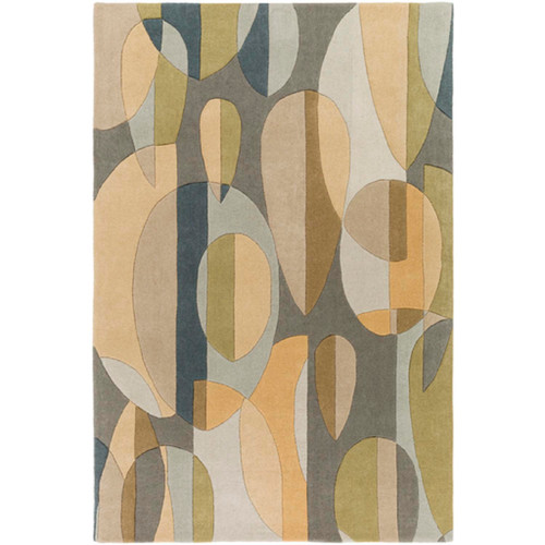 4' x 6' Abstract Rain Teal Blue, Tan Brown and Ash Gray Falling Leaves Hand Tufted Wool Area Throw Rug - IMAGE 1
