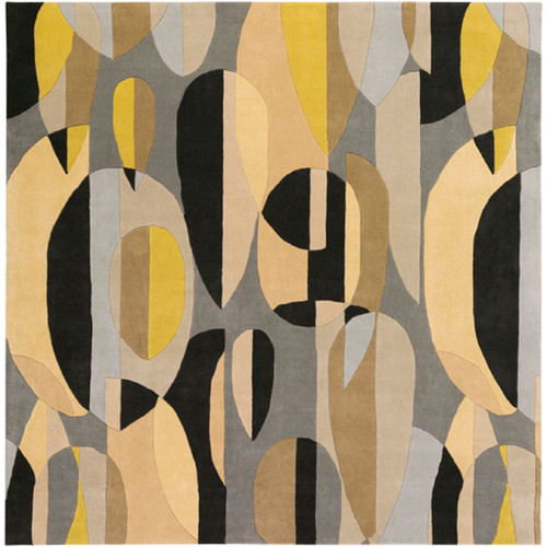 6' x 6' Falling Leaves Black and Yellow Hand Tufted Square Wool Area Throw Rug - IMAGE 1