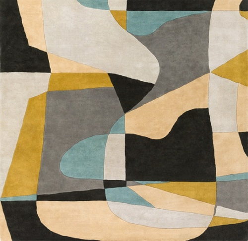 4' x 4' Arte Astratto Black and Gray Hand Tufted Square Wool Area Throw Rug - IMAGE 1