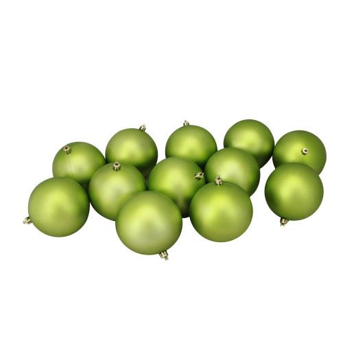 "12ct Matte Kiwi Green Shatterproof Christmas Ball Ornaments 4"" (100mm) - IMAGE 1"