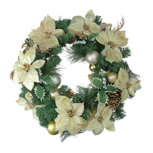 White and Green Pine Cone Artificial Christmas Wreath - 24-Inch, Unlit - IMAGE 1