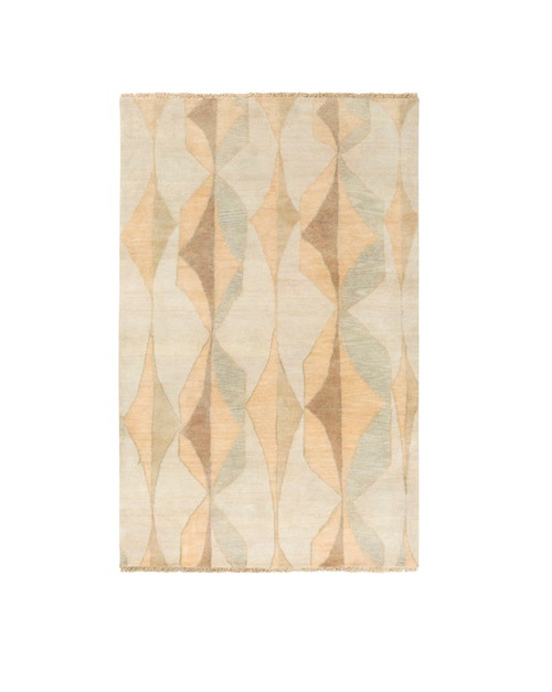 6' x 9' Traditional Brown and Green Hand Knotted Rectangular Wool Area Throw Rug - IMAGE 1