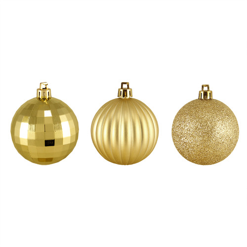 "100ct Vegas Gold Shatterproof 3-Finish Christmas Ball Ornaments 2.5"" (60mm) - IMAGE 1"