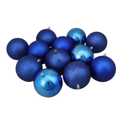 "12ct Lavish Blue Shatterproof 4-Finish Christmas Ball Ornaments 4"" (100mm) - IMAGE 1"