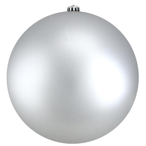 "Silver Shatterproof Matte Christmas Ball Ornament 10"" (250mm) - IMAGE 1"