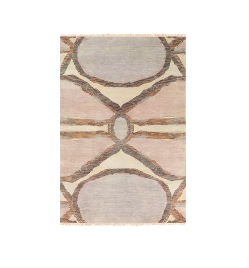 9' x 13' Traditional Purple and Brown Hand Knotted Rectangular Wool Area Throw Rug - IMAGE 1