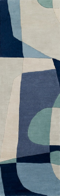 2.5' x 8' Arte Astratto Blue and Gray Hand Tufted Rectangular Wool Area Throw Rug Runner - IMAGE 1
