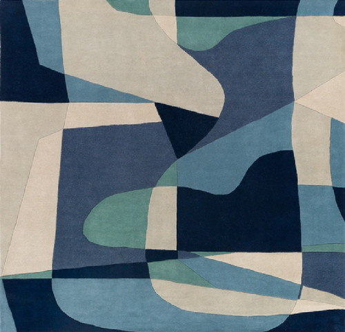 8' x 8' Arte Astratto Blue and Gray Hand Tufted Square Wool Area Throw Rug - IMAGE 1