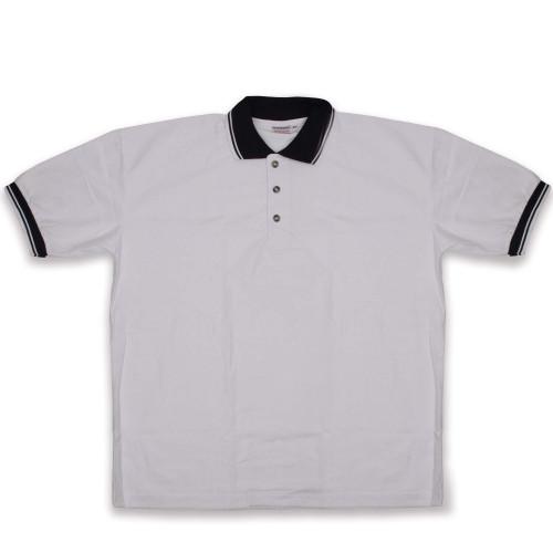 Men's White Knit Pullover Golf Polo Shirt - Medium - IMAGE 1