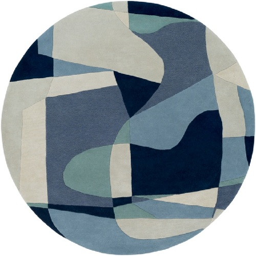 4' Arte Astratto Blue and Gray Hand Tufted Round Wool Area Throw Rug - IMAGE 1