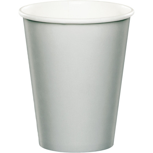Club Pack of 240 Shimmering Silver Disposable Paper Drinking Party Tumbler Cups 9 oz. - IMAGE 1