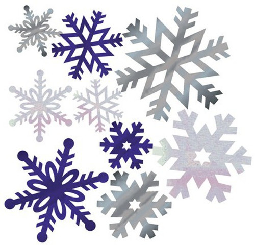 "Club Pack of 144 Silver and Blue Foil Christmas Snowflake Cutout Decorations 12"" - IMAGE 1"