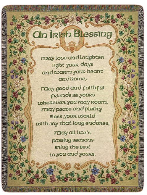 "Tan Brown and Green Traditional Floral ""An Irish Blessing"" Tapestry Throw Blanket 50"" x 60"" - IMAGE 1"