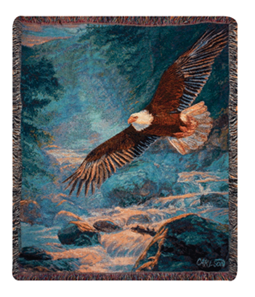 """Brown American Majesty Soaring Eagle Tapestry Throw Blanket 50"""" x 60"""" - IMAGE 1"""