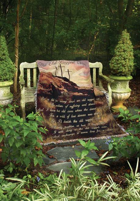 """Brown and Green """"The Old Rugged Cross"""" Religious Inspirational Tapestry Throw Blanket 50"""" x 60"""" - IMAGE 1"""