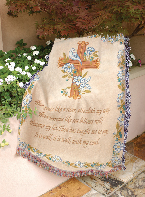"""Well With My Soul Inspirational Spiritual Words Tapestry Throw Blanket 50"""" x 60"""" - IMAGE 1"""