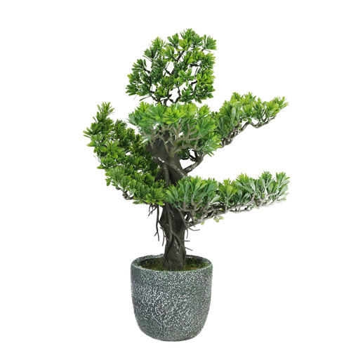 "21"" Artificial Japanese Bonsai Tree in Round Stone Pot - IMAGE 1"