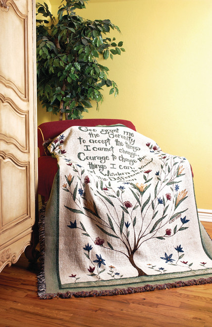 """White and Green Inspirational Serenity Prayer Flora Tree Tapestry Throw Blanket 50"""" x 60"""" - IMAGE 1"""