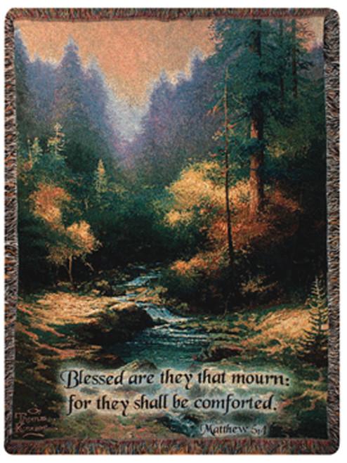 "Creekside Trail Bible Verse Matthew Tapestry Throw Blanket 50"" x 60"" - IMAGE 1"