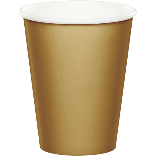 Club Pack of 240 Glittering Gold Disposable Paper Hot and Cold Drinking Party Tumbler Cups 9 oz. - IMAGE 1