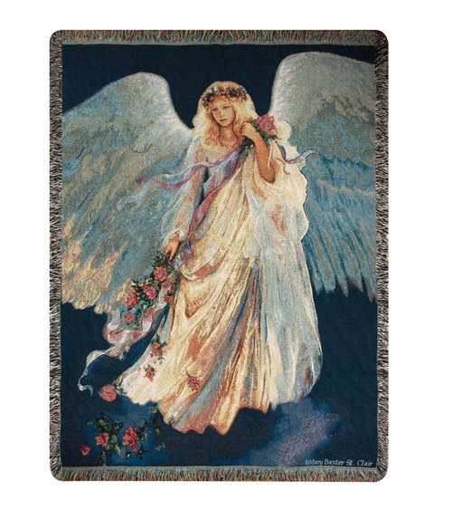 """Cream White and Sage Green Messenger of Love Inspirational Angel Tapestry Throw Blanket 50"""" x 60"""" - IMAGE 1"""